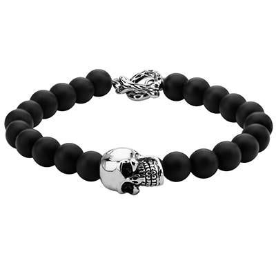 Cool Ghoul Black-Eyed Steel Skull Onyx Mens Bead Bracelet