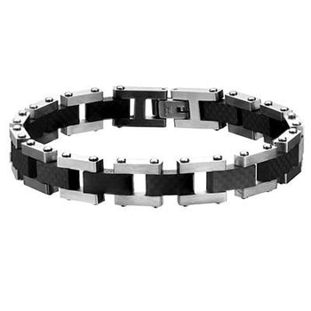 Zero G Industrial Tread Carbon Fiber Mens Steel Bracelet