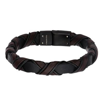 Chocolate Buzz Brown and Black Woven Mens Bracelet