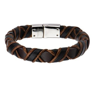Coffee Buzz Light Brown Black Woven Mens Leather Bracelet