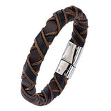 Coffee Buzz Light Brown Black Woven Mens Leather Bracelet Alt View