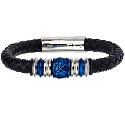 Blue Crush Steel Barrel Bead Mens Black Leather Bracelet