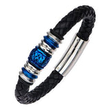 Blue Crush Steel Barrel Bead Mens Black Leather Bracelet Alt View