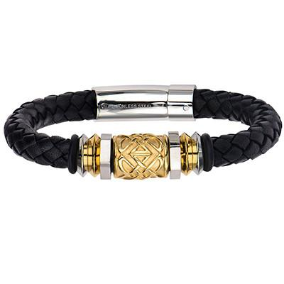 Gold Rush - Gold IP Steel Barrel Bead Black Leather Bracelet