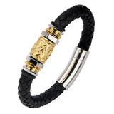 Gold Rush - Gold IP Steel Barrel Bead Black Leather Bracelet Alt View