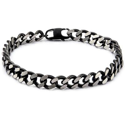 Cutting Edge Black and Natural Steel Flat Edge Curb Bracelet