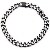 Cutting Edge Black and Natural Steel Flat Edge Curb Bracelet Top View