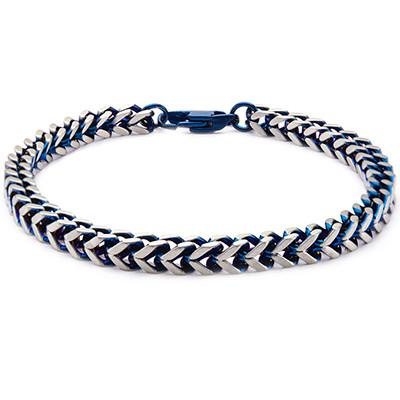Blue Edge Natural and Blue Steel Mens Franco Link Bracelet