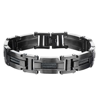 Blade Sharp Gunmetal Stainless Steel Mens Bracelet