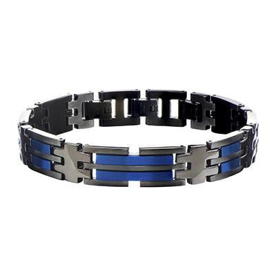 Metallic Blue AVALANCHE BRACELET for Men in Black Steel