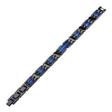 Metallic Blue AVALANCHE BRACELET for Men in Black Steel Flat View