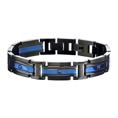 Metallic Blue and Black Steel GLACIER BRACELET for Men