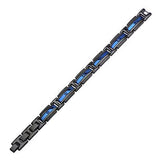 Metallic Blue and Black Steel GLACIER BRACELET for Men Flat View