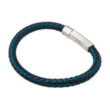 Intersect Blue Steel Black Rubber Woven Mens Bracelet