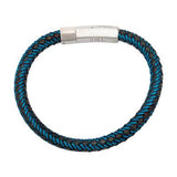 Intersect Blue Steel Black Rubber Woven Mens Bracelet Alt View 2