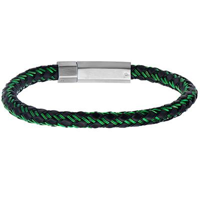 Intersect Green Steel Cable Black Rubber Woven Mens Bracelet
