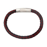 Intersect Red Steel Black Rubber Woven Mens Bracelet Alt View 1