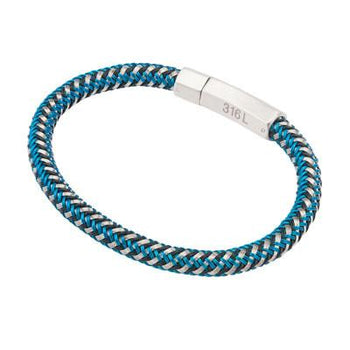 Trifecta Blue, Black and Natural Steel Mens Woven Bracelet