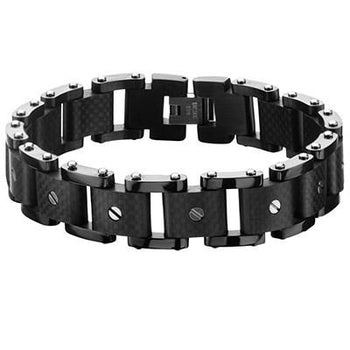 Slot Screw Carbon Fiber Black Steel Industrial Mens Bracelet