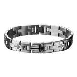 Multi-Cross Steel Mens Cross Link Bracelet w CZ Stones
