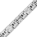 Multi-Cross Steel Mens Cross Link Bracelet w CZ Stones Close-up View