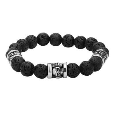 Masquerade Skulls Steel and Black Lava Mens Bead Bracelet
