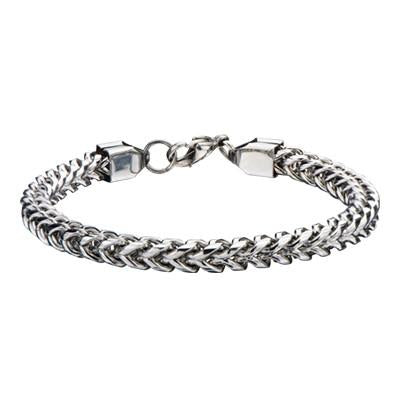 Italian Ice Four-Cornered Franco Link Chain Steel Bracelet