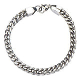 Italian Ice Four-Cornered Franco Link Chain Steel Bracelet Alt View