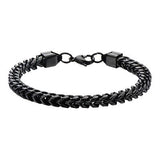 Italian Ice Black Four-Cornered Franco Chain Steel Bracelet