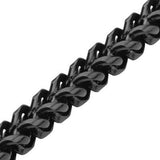 Italian Ice Black Four-Cornered Franco Chain Steel Bracelet Close-up