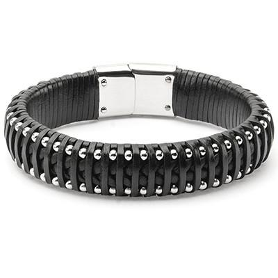 Strapped In Mens Black Leather Bracelet with Steel Rivets