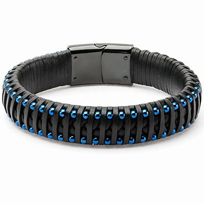 Strapped In Blue Steel Beads Mens Black Leather Bracelet