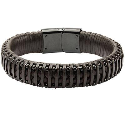 Strapped In Black Steel Rivets Mens Brown Leather Bracelet