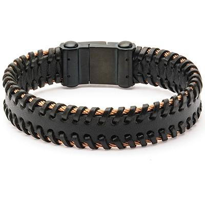 Strapped Cable Rose Gold Steel Mens Black Leather Bracelet