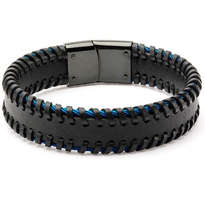 Strapped Cable Blue Steel Cables Mens Black Leather Bracelet