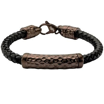 Impress Cappuccino Steel Mens Black Leather Bracelet