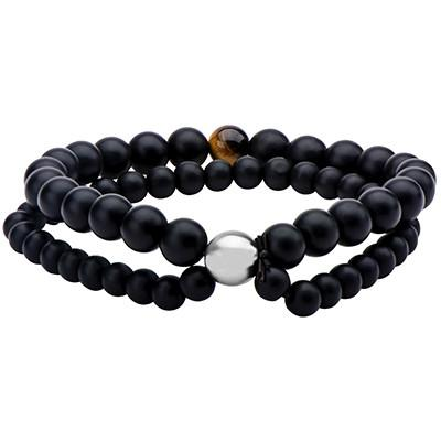 Black Onyx and Tigers Eye Mens Double Strand Bead Bracelet