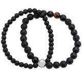 Black Onyx and Tigers Eye Mens Double Strand Bead Bracelet Alt View