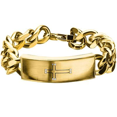 ENGRAVED CROSS Gold Stainless Steel Mens ID Curb Bracelet W CZ Stones