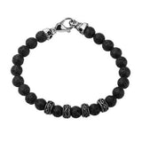 Vesuvio Black Lava Rock Steel Skulls Mens Bead Bracelet Alt View