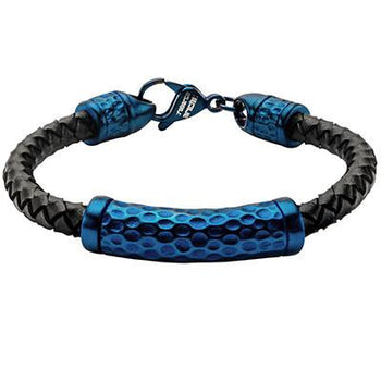 Impress Blue Textured Steel Braided Mens Black Leather Bracelet