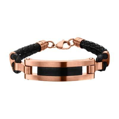 Fresco Rose Gold Steel Black Leather Modern Mens ID Bracelet