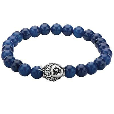 Steel Buddha Head Blue Lapis Stone Mens Prayer Bead Bracelet