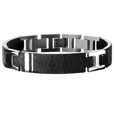 Dark Jigsaw Engraved Black Steel Modern Mens Bracelet