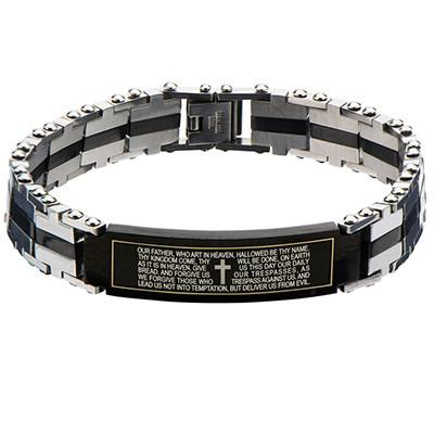Sermon Lords Prayer Black IP Steel Mens ID Bracelet