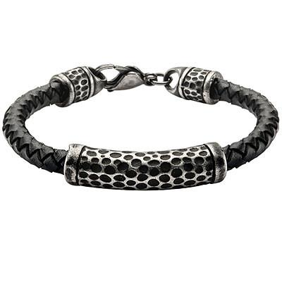 Impress Oxidized Steel Mens Black Leather Bracelet