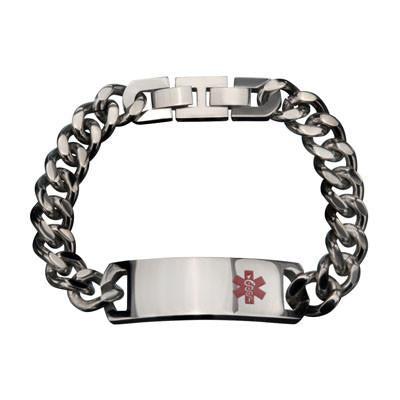 Red Star of Life Large Engraveable Mens Medical ID Bracelet