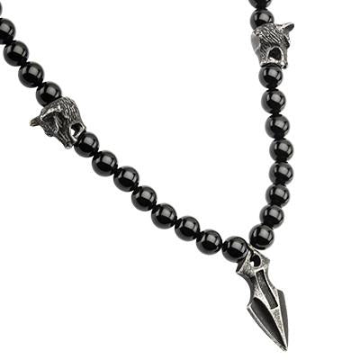 Dark Spear Tip  Steel Black Agate Mens Bead Necklace