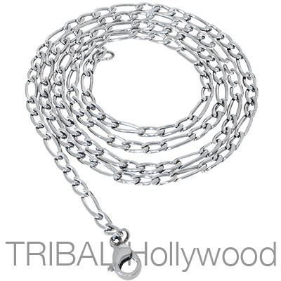 Mens LURE Chain Thin Width Stainless Steel Figaro Necklace