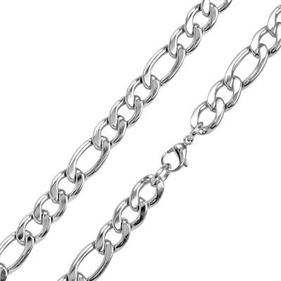 Classic Figaro Link Medium Width Mens Stainless Steel Chain